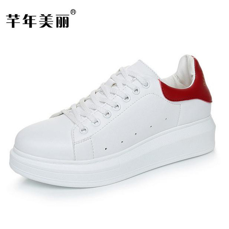 Fashion new Women shoes Large size white thick bottom casual shoes Female Flats size 33-43 obuv Schuhe skor ayakkab 2017 new spring female flat heels martin shoes bullock shoes female thick bottom loafers large size women shoes obuv ayakkab
