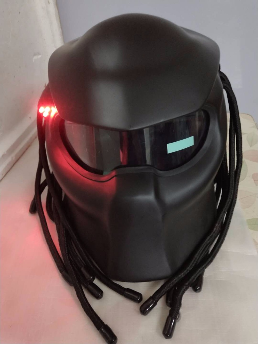 Masei 2017 New Matte Black Bright Black Predators Helmet Mask Fiberglass Motorcycle Iron Man Helmet Full