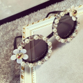 free shipping baby children go out sunglasses shading shelter from the wind rhinestone pearl handmade flowers fashion sunglasses