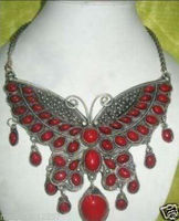 FREE SHIPPING>>>@@> vintage pretty old tibet silver inlay coral jewlery necklace NEW Bride jewelry free shipping