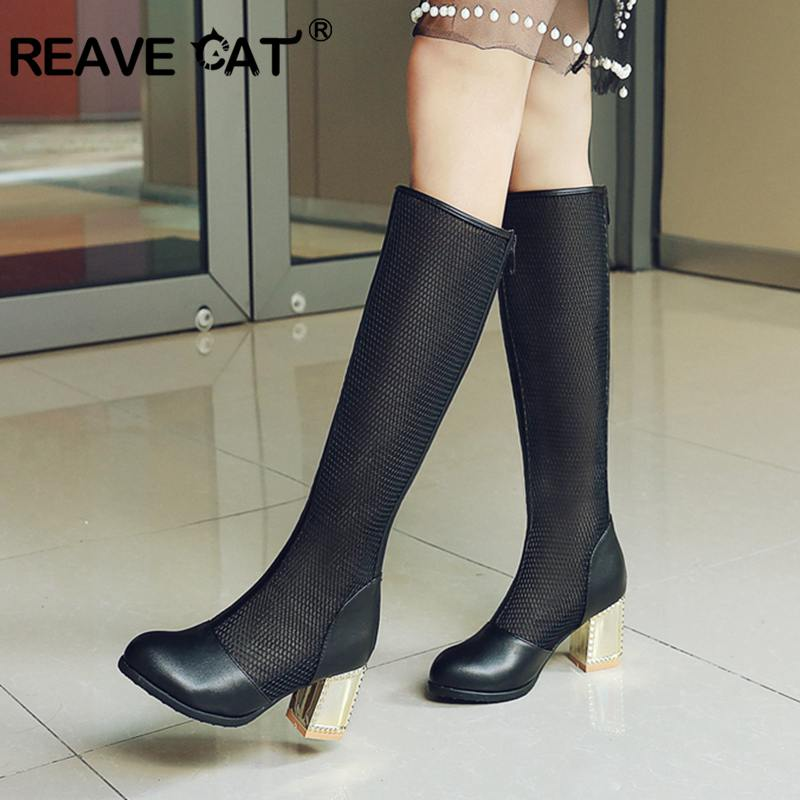 REAVE CAT Women s Square High Heels round Toe Summer boots sandals Breathable Knee Boots for