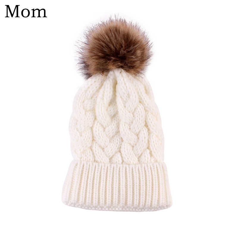 月ベビーかぎ針ニット帽子女性の冬の毛皮のポンポン帽子ボールスキーウサギキャップ家族 Mathing セットウールビーニーキャップ