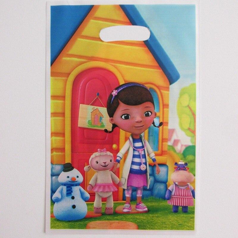 20pcs doc mcstuffins children kids birthday party plastic loot,lollipop,gift bag