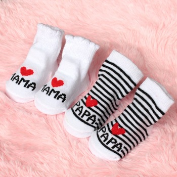 2016 New Lovely Soft Baby Socks Newborn Toddler Infant Kids Girls Boys Stripe Cotton Love Mama/Papa Socks 0~6 Months Fashion