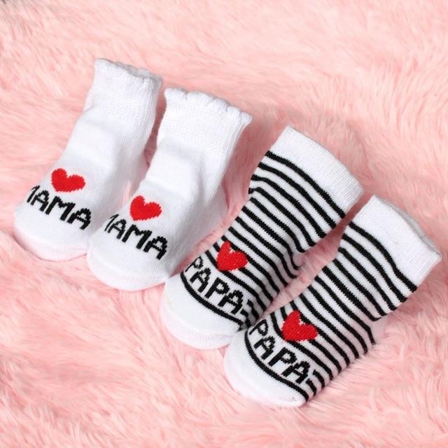 2016 New Lovely Soft Baby Socks Newborn Toddler Infant Kids Girls Boys Stripe Cotton Love Mama/Papa Socks 0~6 Months Fashion