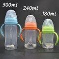 300 ml feijão bebê palha garrafa de largura usando expressões com auto-motion, alças de mamilo bebê recém-nascido garrafa de feijão, garrafas de bebê