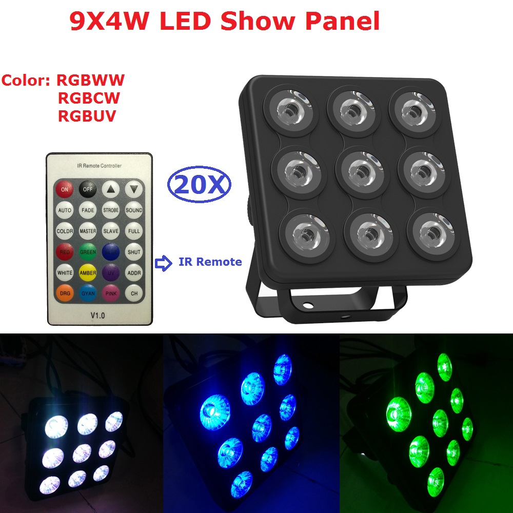 LED Show Panel Flat Par 9X4W RGBW 4IN1 Plastic LED Par Can Disco Lamp Stage Lights Luces Discoteca Laser Beam Luz de Projector 10x dj disco par led 9x10w rgbw stage light dmx strobe flat luces discoteca party lights laser luz projector lumiere controller