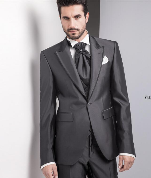 2018 Italian Charcoal Tuxedo Suits Wedding Jacket Pants Tie Vest Customized Tuxedos For Men Prom Best In From S Clothing