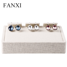 FANXI Free shipping 4 pcs/lot wooden covered with beige linen jewellery shop and exhibition display earrings exhibitor trays
