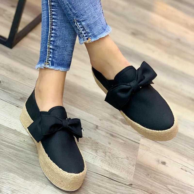 SHUJIN Schoenen Vrouwen Flats Schoenen Platform Sneakers 2019 Slip Op Boog Flats Leer Suede Dames Loafers Mocassins Casual Schoenen