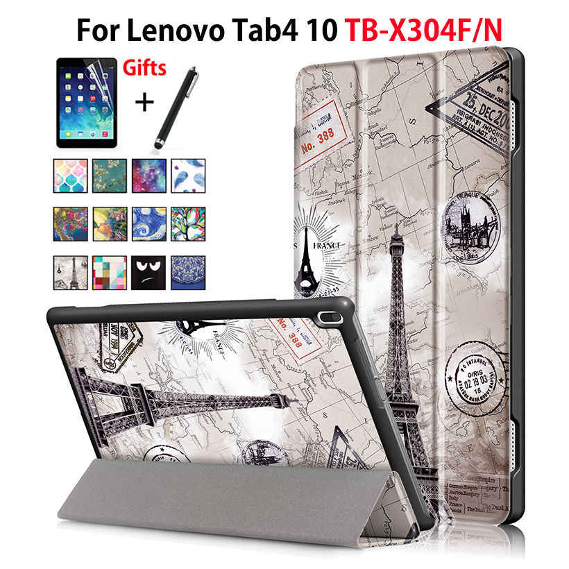 Case For Lenovo TAB4 Tab 4 10 TB-X304L TB-X304F TB-X304N Smart Cover Funda Tablet Sleep Wake PU Folding Slim Stand Case+Film+Pen