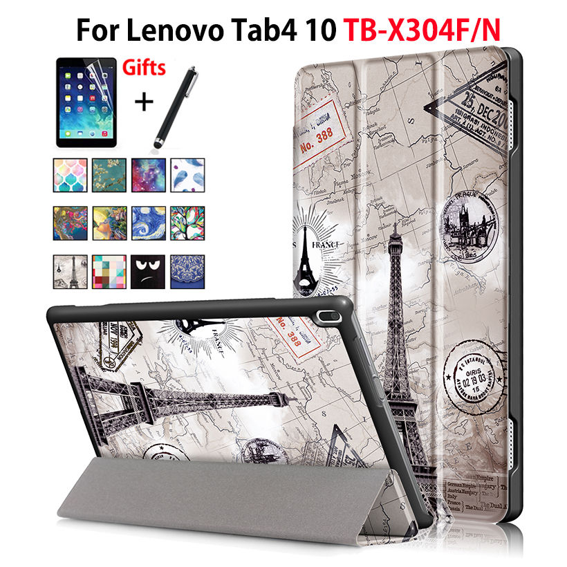 Case For Lenovo TAB4 Tab 4 10 TB-X304L TB-X304F TB-X304N Smart Cover Funda Tablet Sleep Wake PU Folding Slim Stand Case+Film+Pen
