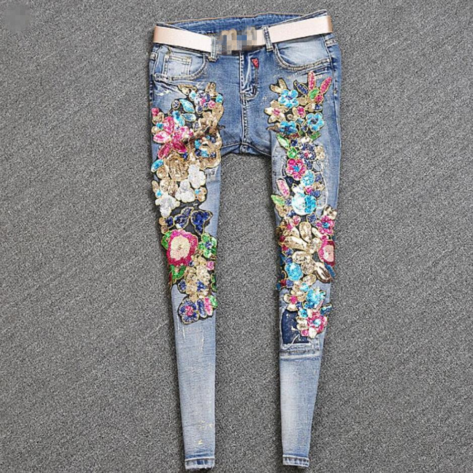 2019 Spring Autumn New Fashion Women Bronzing Sequins Flowers Worn Mid Waist Skinny Pencil Jeans Plus Size 2XL
