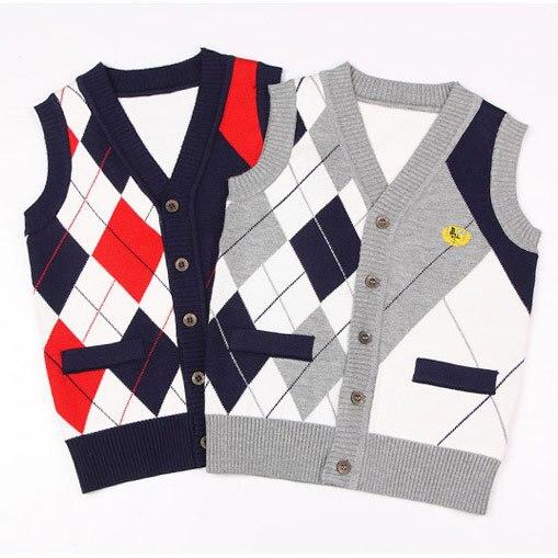 2016 Novo Design de Meninos Vest Cardigan Marca Camisola Estilo Preppy Meninos Outono Casaco De Malha Colete De Lã Meninos Casuais Camisola de Algodão, C129