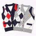 2016 Nuevo Diseño Niños Chaleco chaqueta de Punto Suéter de la Marca de Estilo de Muy Buen Gusto Muchachos Otoño Muchachos de la Capa de Lana de Punto Casual Suéter de Algodón, C129