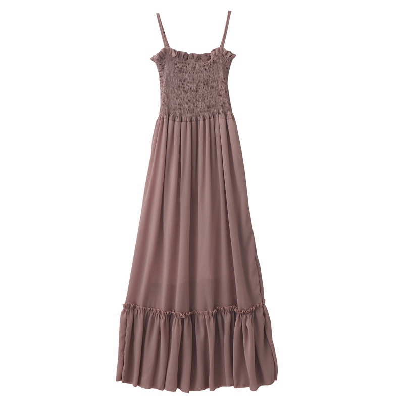2019 summer new retro gentle long section high waist summer dress sleeveless sling chiffon solid color fairy women dress 1