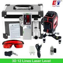 KaiTian 3D Laser Niveaux Extérieure 650nm 12 Lignes Croix Niveau avec Slash Fonction et Auto Nivellement 360 Rotatif Rouge Faisceau Laser Outils