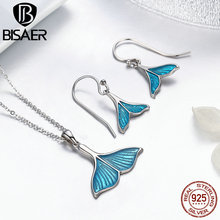 BISAER Fashion 925 Sterling Silver Jewelry Sets Fish Whales Tail, Blue Enamel Pendant Necklace & Earrings Women Jewelry Set