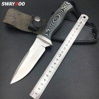 Swayboo faca de caça afiada AUS-8A  cabo mikta  faca reta  lâmina fxed  com coldre
