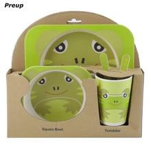 PREUP BPA Free Eco Friendly 5pcs Toddler Baby Feeding Set Bowl Dish Fork Spoon Bottle Dinnerware Kit Baby Dishes Shipping Free