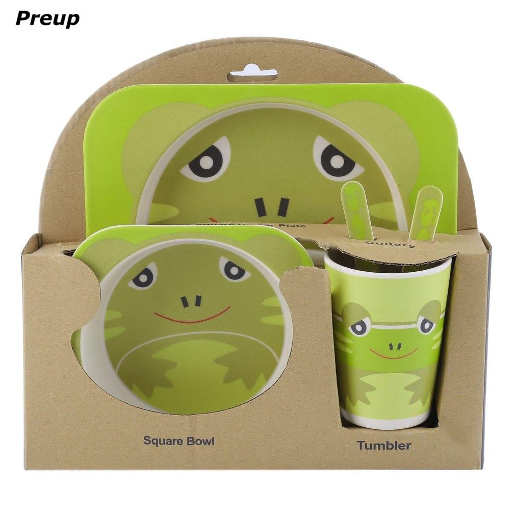 PREUP BPA Livre Eco Friendly 5 pcs Conjunto de Alimentação Do Bebê Da Criança tigela Prato Louça Garfo Colher Garrafa Kit Pratos Do Bebê Grátis livre