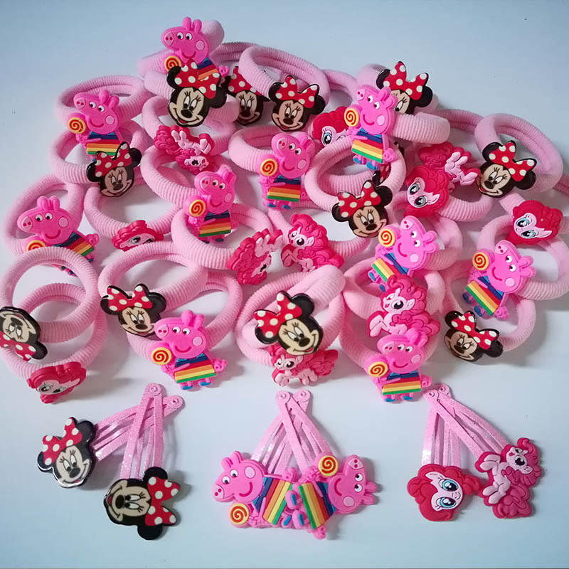 12pcs Cartoon Set  Basic Rubber Band Children Cartoon hairpin Kids Elastic Hair Band  Girls Hair Clip Pin Hair Accessories 8 pieces children hair clip headwear cartoon headband korea girl iron head band women child hairpin elastic accessories haar pin