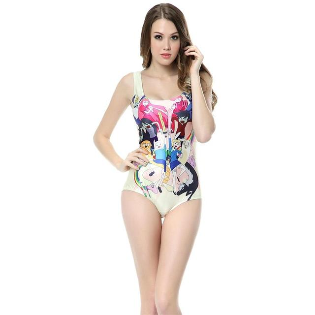 d9d06e6528 2016 New White Pink Cartoon Woman Summer Style One Piece Swimsuits Sexy  African Printed Swimwear Women Brazilian Bathing Suits