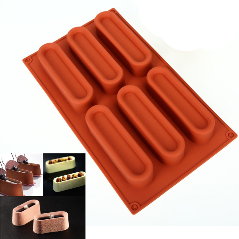 Cuboid Shaped Art Eclair Mousse 3D Cake Mold Silicone Chocolate Mould Pan Bakeware Dessert Forms Baking Pastry