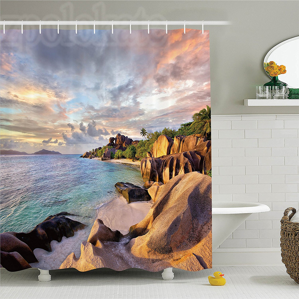 Seaside Decor Shower Curtain Set Tropical Rock Sandy Beach At Sunset In Island With Majestic Sky Light Art On Earth Photo Bathro