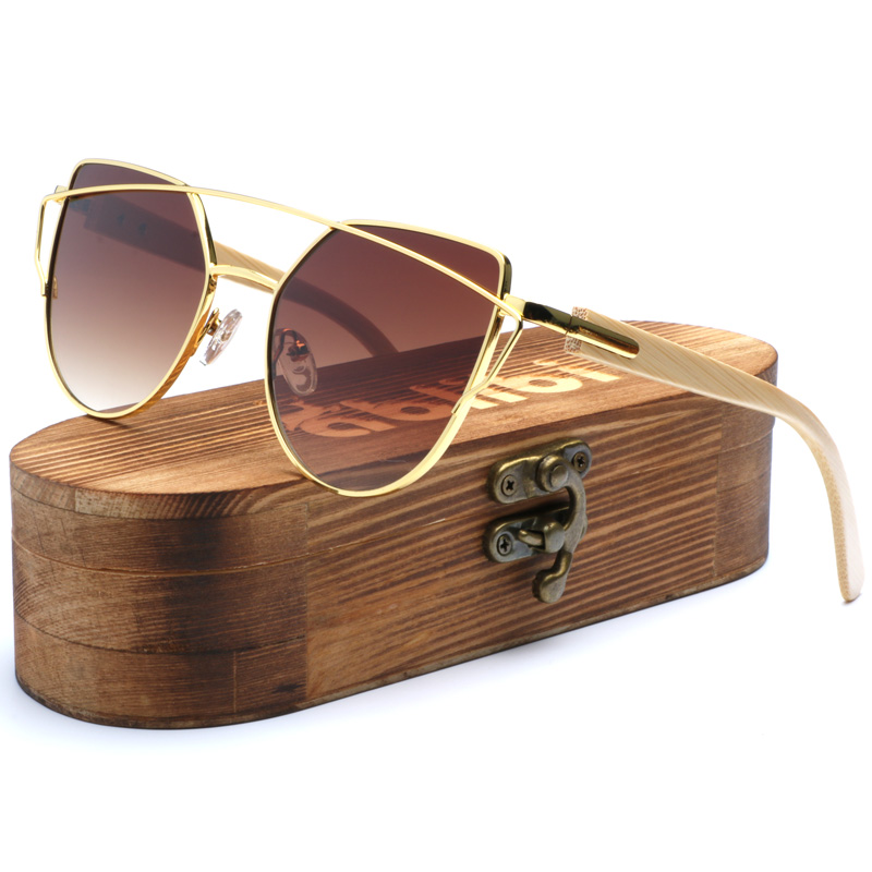 3ba55a5cdf Ablibi 2017 Women s Smoky Brown Butterfly Sunglasses Oversize Bamboo Wood  Sun Glasses for Ladies oculos de sol masculino-in Sunglasses from Apparel  ...