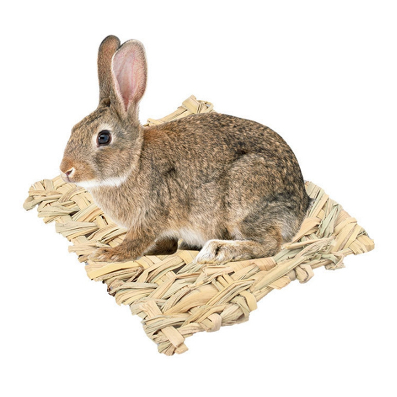 Small font b Pet b font Cages Natural Handmade Mat Woven Grass Square Mat Bed For