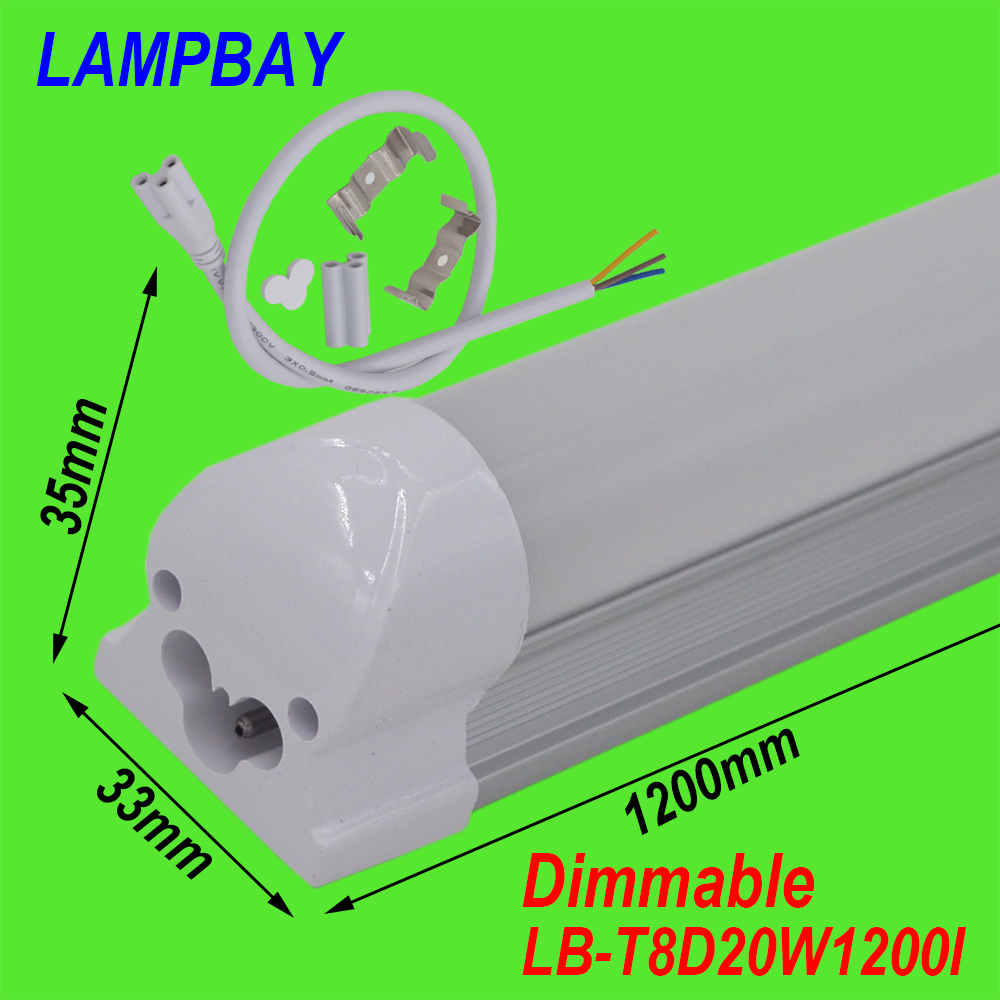 (4 Pack) Free Shipping Dimmable T8 integrated 4ft(1.2m) 20W led tube bulb with accessory ceiling fixture lighting bar 110/220V free shipping dimmable t8 led tube bulb 4ft 20w 1200mm g13 base replace fluorescent lamp light