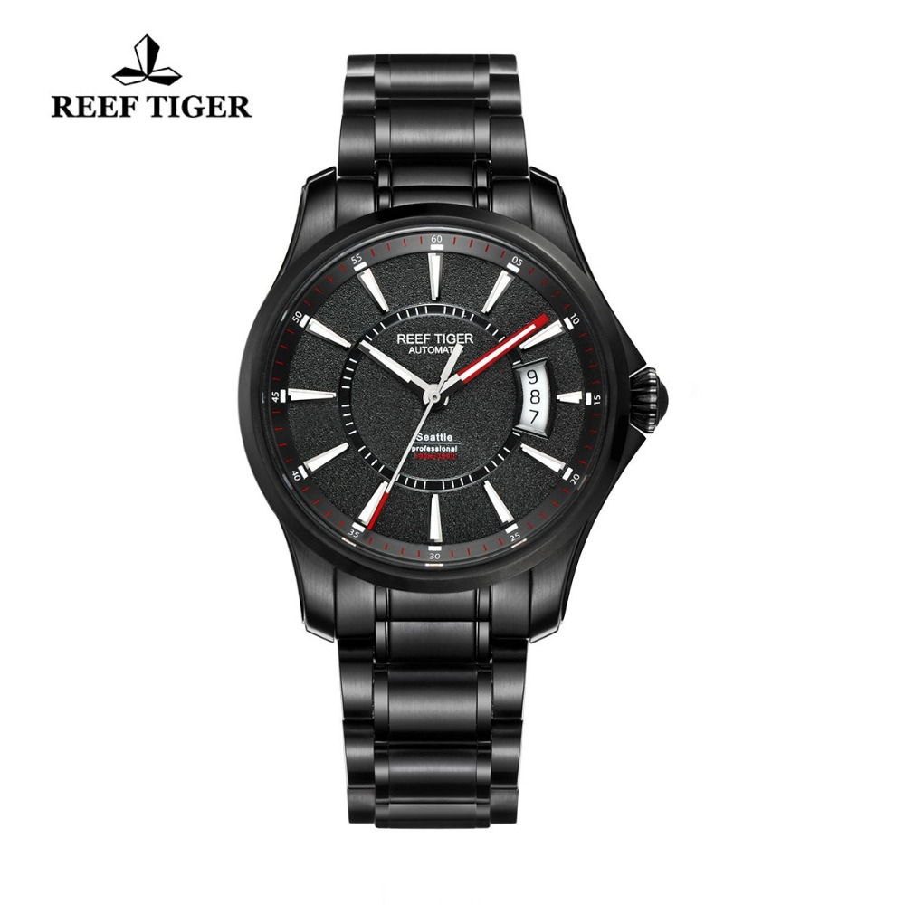 Reef Tiger/RT Watch Seattle Sports For Men Automatic Watches Super Luminous Big Date Black Steel Watches RGA166-in Sports Watches from Watches on Aliexpress.com | Alibaba Group