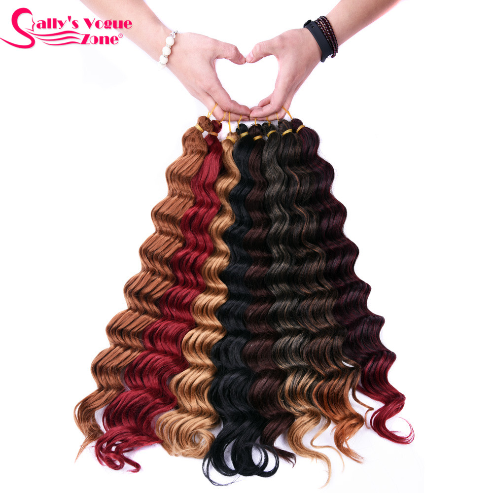 Sallyhair Deep Wave 12strands/pack 1 Pack/lot Synthetic Braiding Crochet Braids Hair Burgundy Color Bulk Hair Extensions