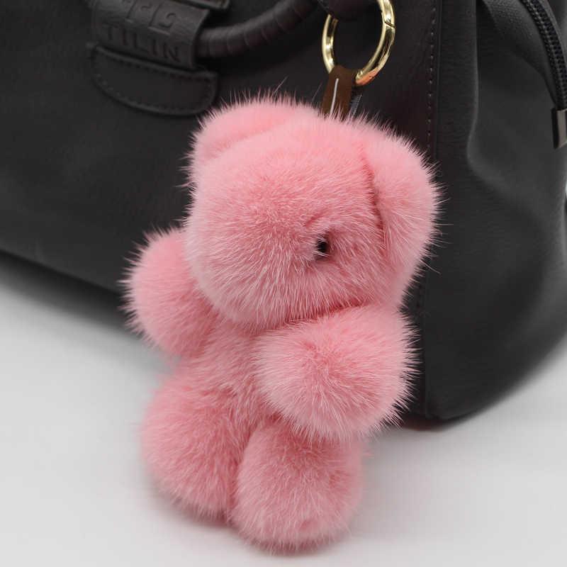 Подлинная 13 см модная мягкая кожа мех норки брелок панда кольцо сумка подвеска автомобильные аксессуары брелки плюшевые игрушки