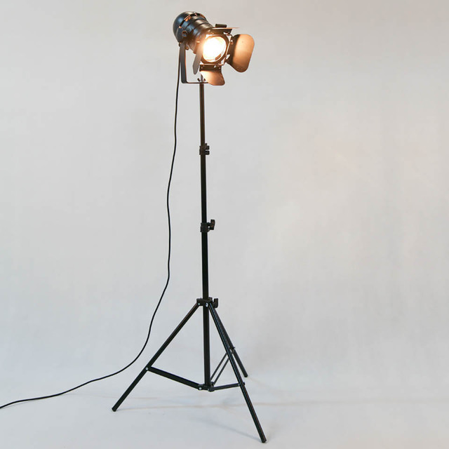 Antique Industrial Tripod Floor Lamps, Iron Light, Halogen