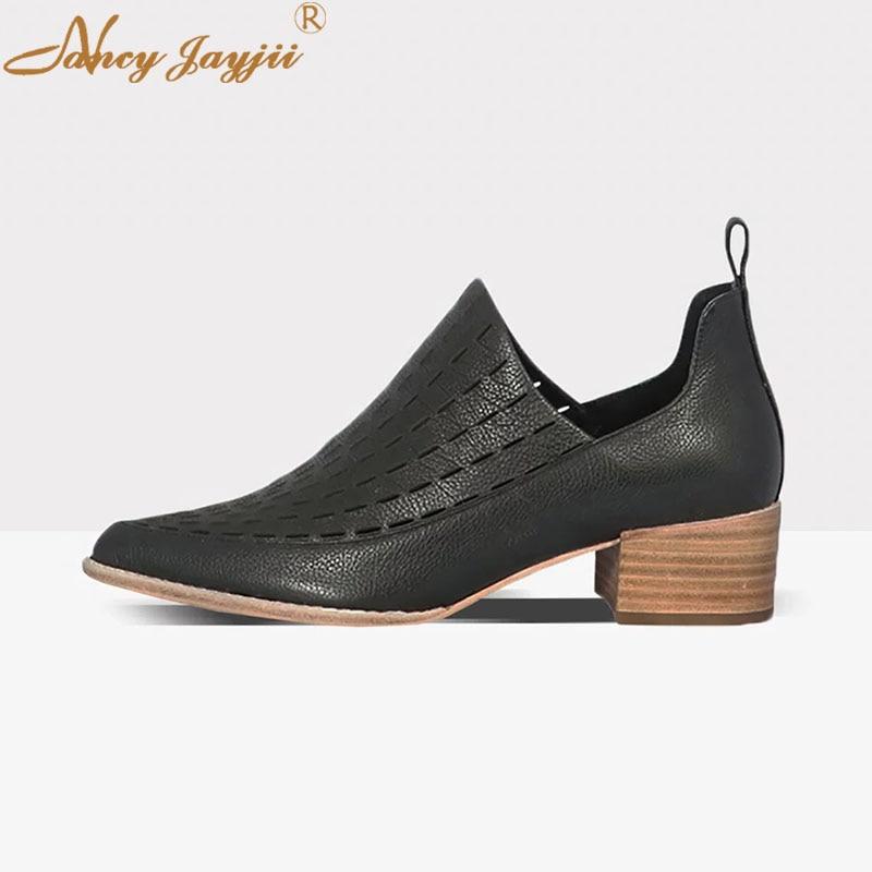 2019 D'âge En Adulte automne Haute Talons Dames Femme Pompes Mode Loisirs Carrés Cuir Mûr Noir Ty01 Printemps Véritable Chaussures Bout Rond Fn5aqwnH