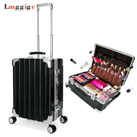 Rolling Cosmetic Bags Makeup Case Beauty Toolbox Nails Kit Aluminum Frame PC Travel Luggage Suitcase Bag