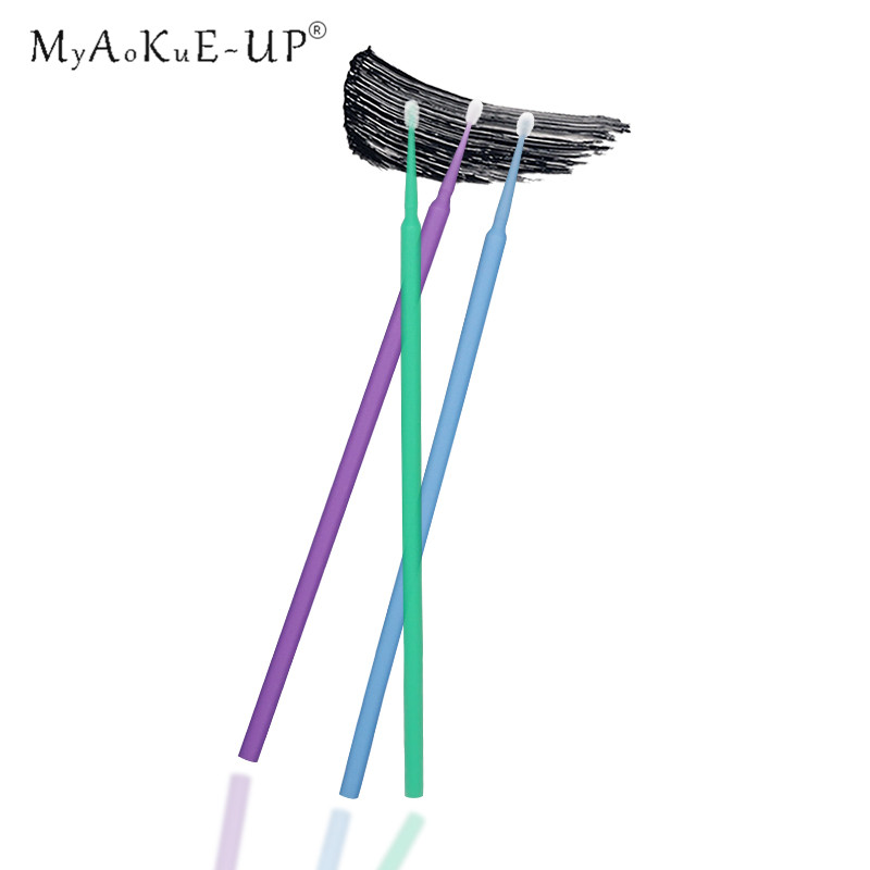 10 Colors Disposable Mini Micro Brushes 100pcs Eyelash Extension Makeup Tools Eyelashes Individual Applicator Mascara Wands