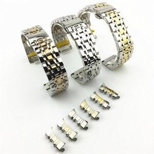 Image 4 - מעוקל סוף 7 חרוזים נירוסטה רצועת השעון מתאים עבור Samsung Tissot שעון Band רצועת צמיד 12mm 24mm פרפר אבזם