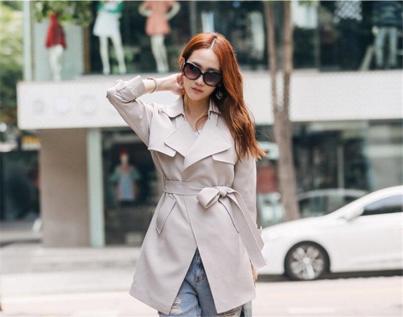 Corea Donna Donne Autunno Della Cappotti Para Di Cappotto Coat Mulheres beige Wxf111 Trench Modo Ayunsue Sky Windbreaker Primavera Come Con Cintura Blue Delle wzEwqPX