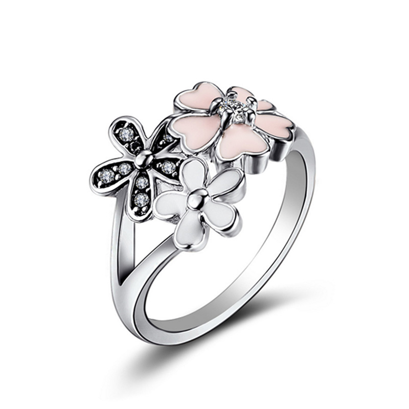 New Silver Charms Diy Daisy Cherry Blossom Drops Crystal Round Rings For Women Jewelry HR200