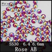 Shiny Color Rose AB 288pcs Flat Back Round Nail Art Rhinestones For Fashion Decoration