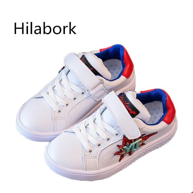 e7c254330dd98 Hilabork chaussures D école pour garçon Chaussures pour filles sport  chaussures Sneakers en caoutchouc Paillettes