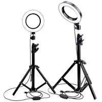 Светодиодная кольцевая лампа для фотостудии, камера, освещение для фотосъемки, Видео Освещение с регулируемой яркостью, для Ютуба, макияж, С...