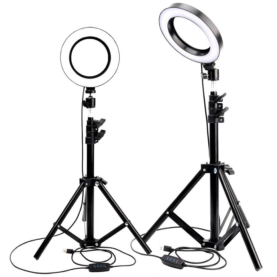 Anel de luz led photo studio câmera luz fotografia pode ser escurecido luz vídeo para youtube maquiagem selfie com tripé suporte do telefone