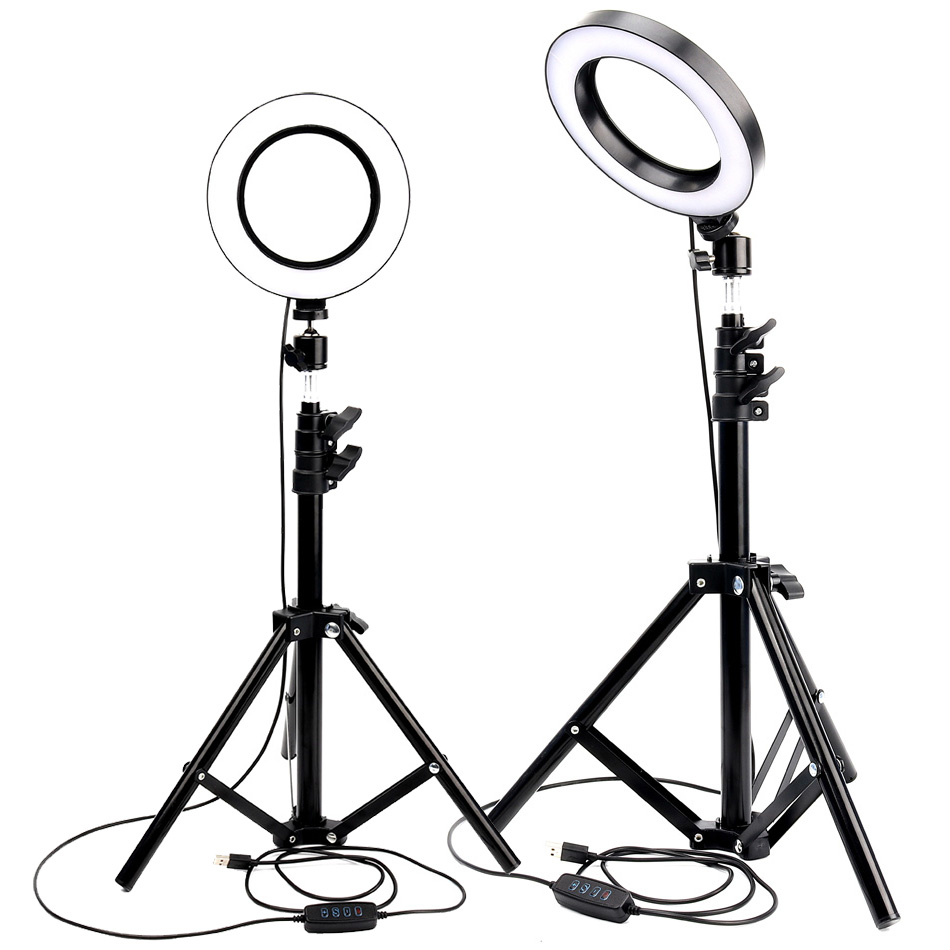LED Ring Light Photo Studio Camera Light Photography Dimmable Video light for Youtube Makeup Selfie with Tripod Phone Holder image
