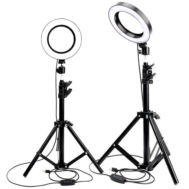 ĐÈN Ring LED Studio Ảnh Camera Đèn Chụp Ảnh Mờ Video cho Youtube Trang Điểm Selfie với Chân Máy Điện Thoại