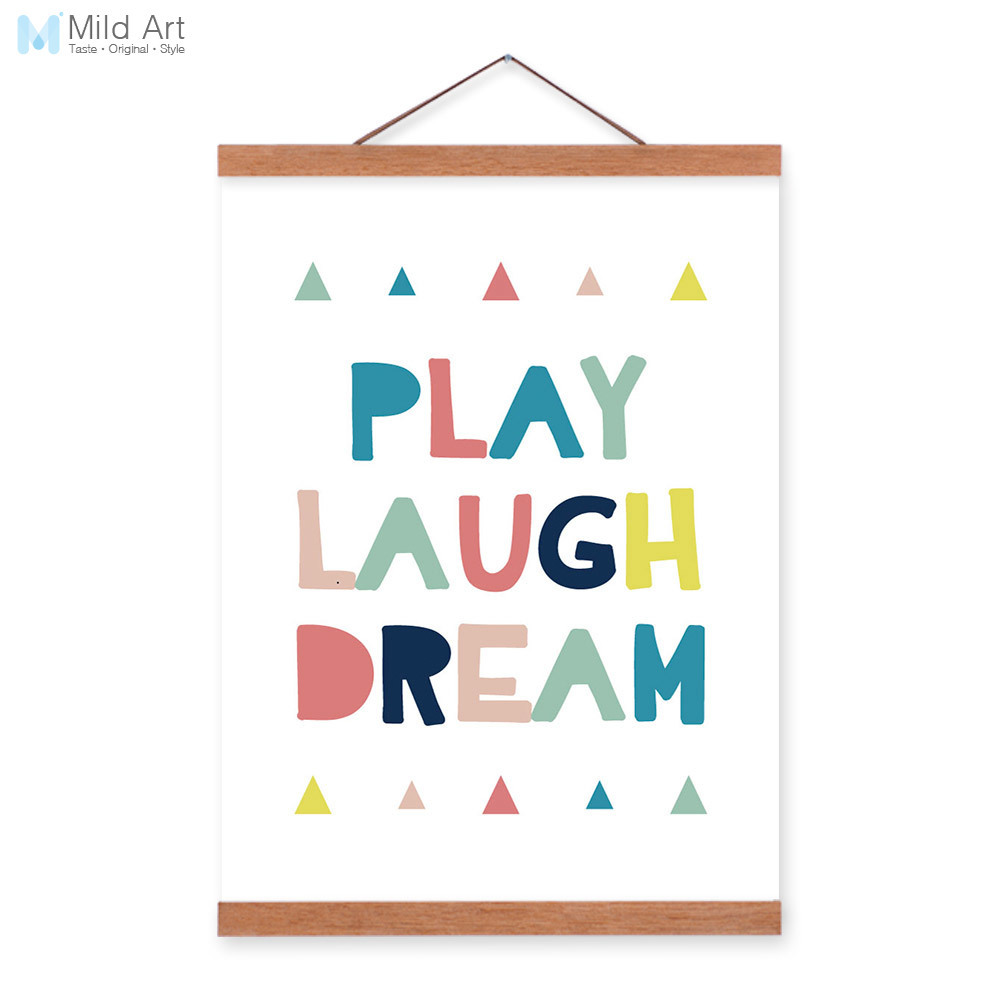 modern motivational laugh dream quotes wooden framed canvas painting kids room home decor wall. Black Bedroom Furniture Sets. Home Design Ideas