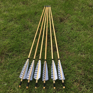 Image 4 - 6/12pcs Chinese traditional wooden arrows  striped shield feathers For Archery